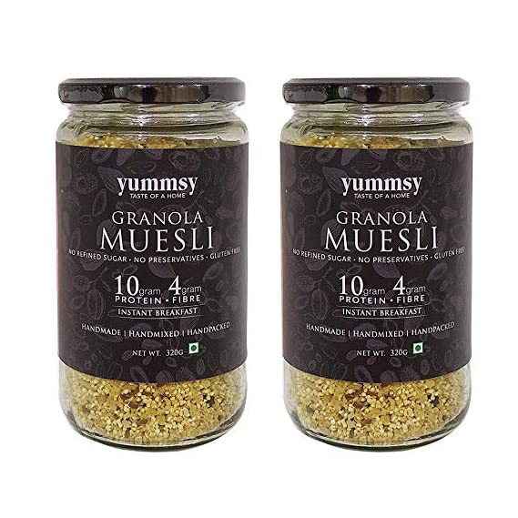 Yummsy Granola Muesli (Pack of 2)! Sugar Free, Gluten Free,10g Protein & 4g Fibre from The Ingredients.