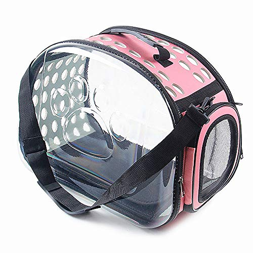 TDL Transparent pet Carrier Breathable Portable Outdoor Travel Bag Soft cat Bracket Clear Handbag Suitable for Small and Medium Animal Dogs Less Than 9 pounds Foldable (M, Pink)