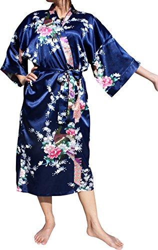 Full Funk Chinese Silk Floral Printed Japanese Waist Tie Kaftan Nightgown Robe, Medium, Midnight (Silk Kaftan With Tie)