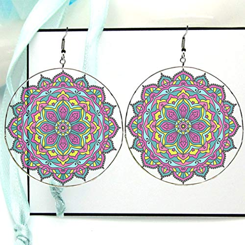 Large Mandala Clipart Drop Hoop Earrings, Urban Style Resin Picture Image, Silver X Large with Fish Hooks