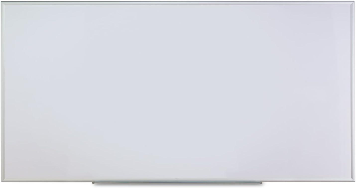 Universal Dry Erase Marker Board, Melamine, 96 x 48, Silver Aluminum Frame