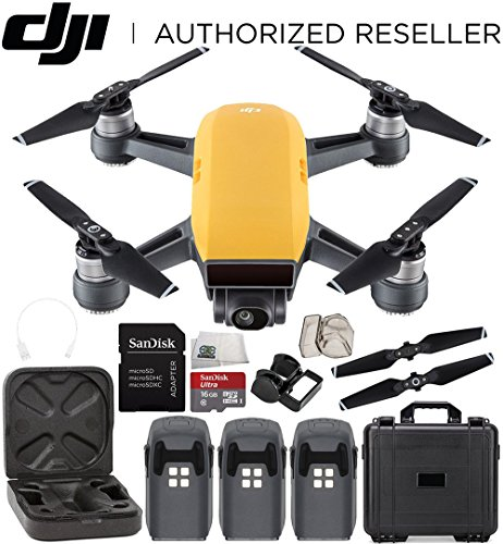 DJI Spark Portable Mini Drone Quadcopter Water Proof Hard Case Ultimate Bundle (Sunrise Yellow) by SSE
