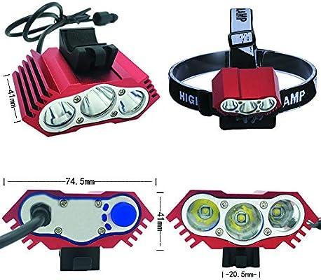 LYNOON Luces Bicicleta, Luz Frontal Bici Luces Bicicleta Delantera y Trasera Impermeable Luz de Flash al Aire Libre 7500 Lumen 3 LED para Carretera y Montaña - Seguridad para la Noche Ciclismo(Rojo):