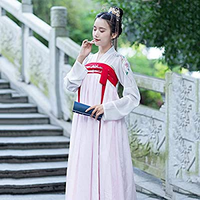 YCWY Hanfu Chino para Mujer, Vestido de Manga Larga Bordado ...