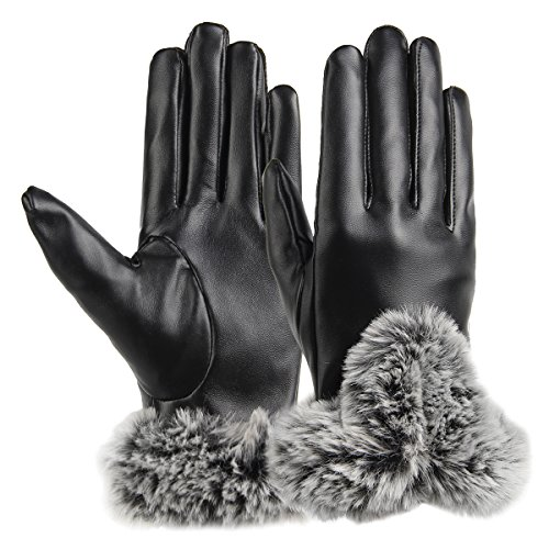 JOYEBUY Womens Leather Gloves Texting Touch Screen Gloves Winter Warmest Gloves (Black)