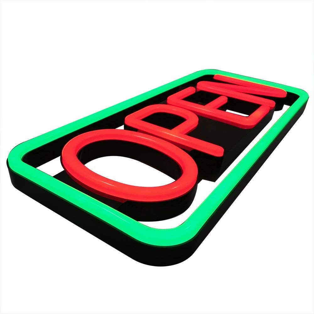 Remote Controlled LED Neon Open Sign - Rectangular Shape, 9x22'' Size, Red - Green Color (#3282) by LED-Factory (Image #4)