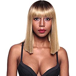 Gotta Bob Wig 14'' Straight Synthetic Hair Full Wig Ombre High Density Bob Replacement Wig for Women, Honey Blonde to Natural Blonde(T6/24))