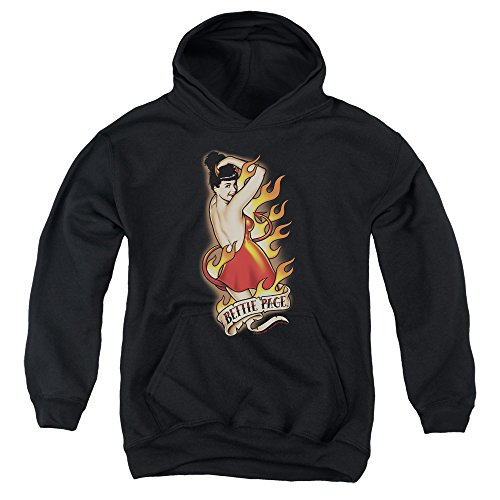Bettie Page Devil Tattoo Big Boys Pullover Hoodie Black MD (Bettie Page Devil compare prices)