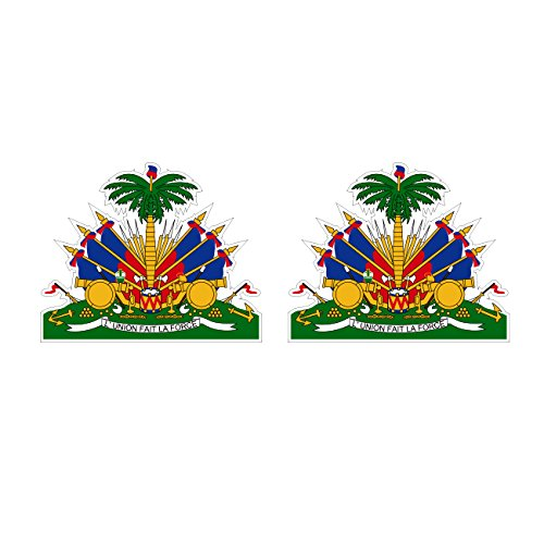 Two Pack Haitian Coat of Arms Sticker FA Graphix Decal Self Adhesive Vinyl Haiti flag HTI HT (Accessories Haiti)