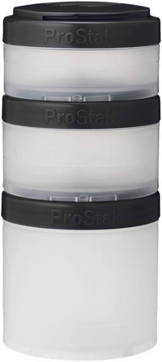 BlenderBottle ProStak Twist n' Lock Storage Jars Expansion 3-Pak with Pill Tray, White/Black