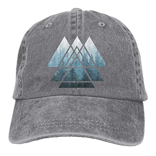 Cejgc Geometry Misty Forest Denim Hat Adjustable Womens Cute Baseball Caps,Ash,One Size