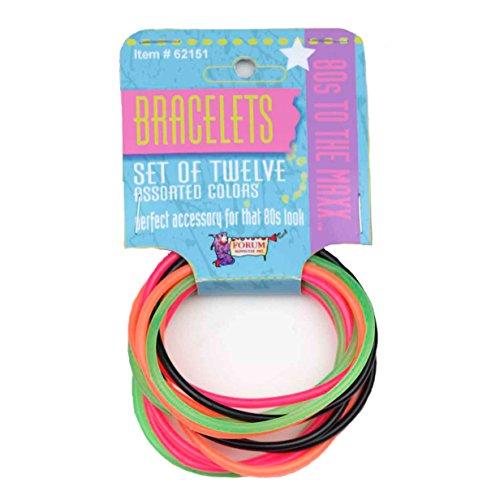 Forum Women 80's Costume Bracelet Set, Black, One Size, 12 Pack