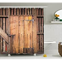 Ambesonne Wooden Barn Door Shower Curtain, Rustic Decor...