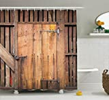 Wooden Barn Door Shower Curtain by Ambesonne, Rustic Decor Rural Vertical Barns House Nobody Bohemian Decor Print, Polyester Fabric Bathroom Set with Hooks, Brown