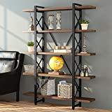 LITTLE TREE Solid Wood 5 Shelf Industrial Style Bookcase and Book Shelves, Metal and Wood Free Vintage Standing Storage Shelf Units, Antique Nutmeg