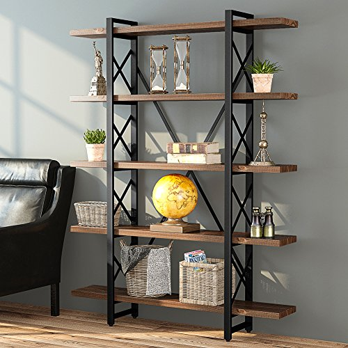 LITTLE TREE Solid Wood 5 Shelf Industrial Style Bookcase and Book Shelves, Metal and Wood Free Vintage Standing Storage Shelf Units, Antique (Mdf Wide Bookcase)