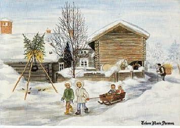 Used Postcard Swedish Christmas Holiday Happy New Year Greetings  Artist Drawn Winter Scene Children Sleigh