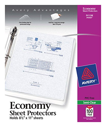 Avery Economy Semi-Clear Sheet Protectors, Acid Free, Box of 100 (74101) (11x14 Covers Binding)