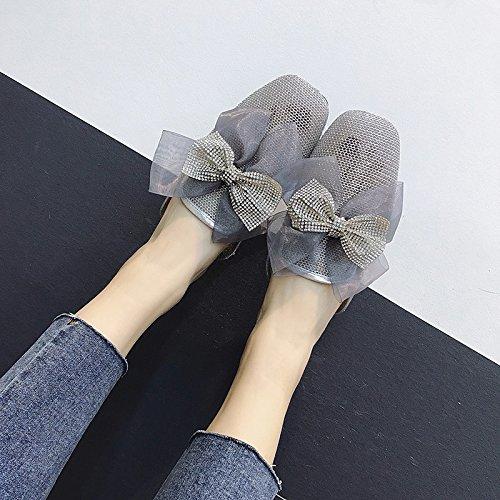 GAOLIM En El Verano, La Hembra Zapatillas Llevar Una Pajarita Cabeza Cuadrada Con Una Base Plana Y Versátil Baotou Mesh Expuesto Cool Zapatillas Silver