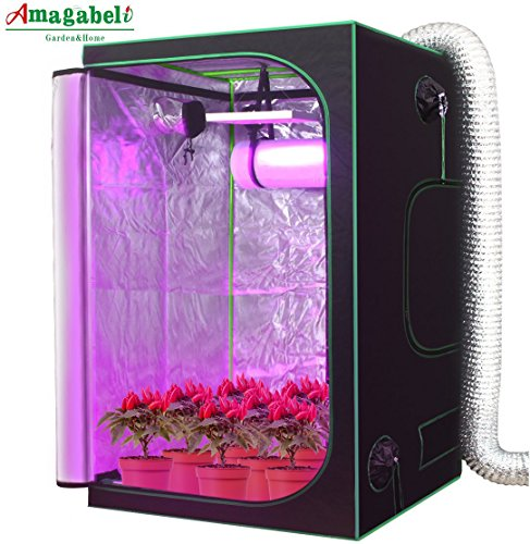 Amagabeli 48'x48'x80' Mylar Hydroponic Grow Tent for Indoor Plant Growing 4x4 with Observation Window Removable Floor Tray Reflective Adjustable Rope Hangers Tool Bag Room Box 4 by 4 Indoors Grow Kit