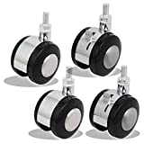 Copapa Floor Protecting Rubber Office Chair Caster Wheels Screw Stem 8mm x 15mm 2'' Wheel Alloy Plastic Swivel Casters, (2 Swivel Caster and 2 Brake Swivel Casters)