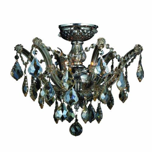 Worldwide Lighting Bayou Collection 3 Light Chrome Finish and Golden Teak Crystal Semi-Flush Mount Ceiling Light 16