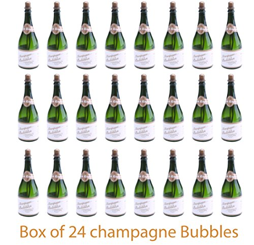 Charmed Wedding Bubble Wand Party Favors Box of 24 - Bubbles Champagne Bottle