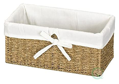 Vintiquewise(TM) Seagrass Shelf Basket Lined with White Lining Quickway Imports QI003084