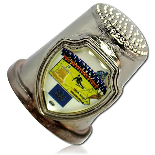 Custom & Collectable {25mm Hgt.x 25mm Dia} 1 Single, XL-Size Sewing Thimble Made of Fine-Grade Zinc Alloy Metal w/ Pennsylvania