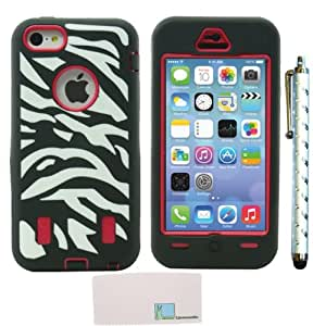 Llamamia Zebra Silicone Pc Hybrid Case Cover Protector for Iphone 5 C (Black / Red))