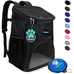 PetAmi Premium Pet Carrier Backpack for Small Cats and Dogs | Ventilated Design, Safety Strap, Buckle Support | Designed for Travel, Hiking & Outdoor Use (Black)