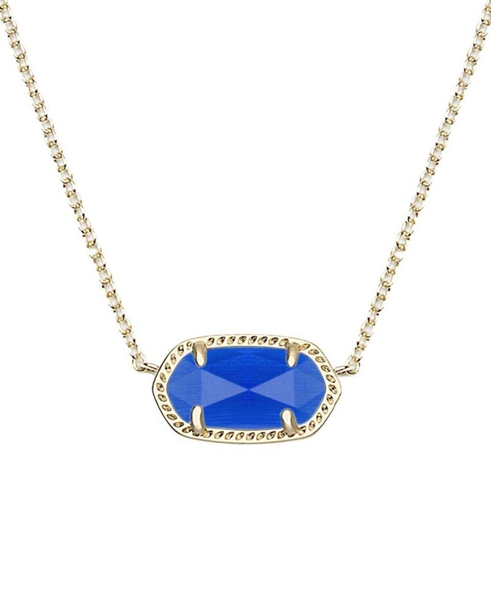 Kendra Scott Women's Elisa Birthstone Necklace September/Gold/Cobalt Cat'S Eye Necklace