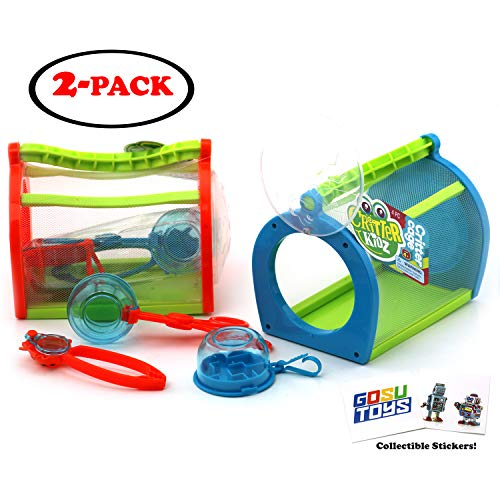 Kids Critter Cage Bug Catcher Tools Set - Scoopers, Tweezers, Maze - Back Yard Insect Cage Kit with 2 GosuToys Stickers