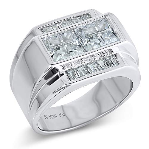Sterling Manufacturers Men's Sterling Silver .925 Ring Invisible and Channel Set Cubic Zirconia Stones, Platinum Plated