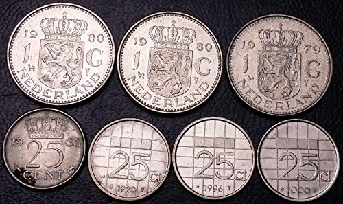 LOT OF 7X NETHERLANDS 25 CENTS & 1 GULDEN COINS VARIOUS DATES