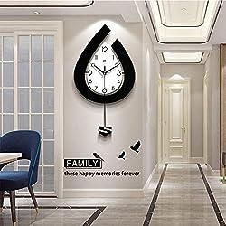 GQYS Modern Decorative Pendulum Wall Clock, Stylish Quartz with Pendulum Wall Clock Silent Large Fashion Clocks for Home Living Room Office Bedrooms Kitchen Pendulum Wall Clock,15x29inch
