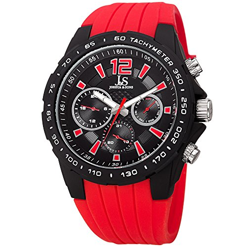 Joshua & Sons Multi-Function Double Layer Red Accented Dial with Matte Black Case and Matte Black Bezel on Red Silicone Sport Strap Watch JX126RD ()