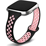 Kmasic Compatible with Fitbit Versa Bands/Fitbit Versa 2/Fitbit Versa Lite Edition, Sports Breathable Soft Silicone…