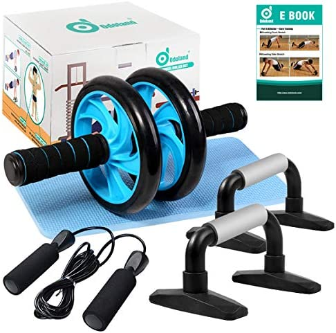Odoland 4-in-1 AB Wheel Roller Kit AB Roller Pro with Push-Up Bar, Jump Rope and Knee Pad – Perfect Abdominal Core Carver Fitness Workout for Abs – Home Gym Workout
