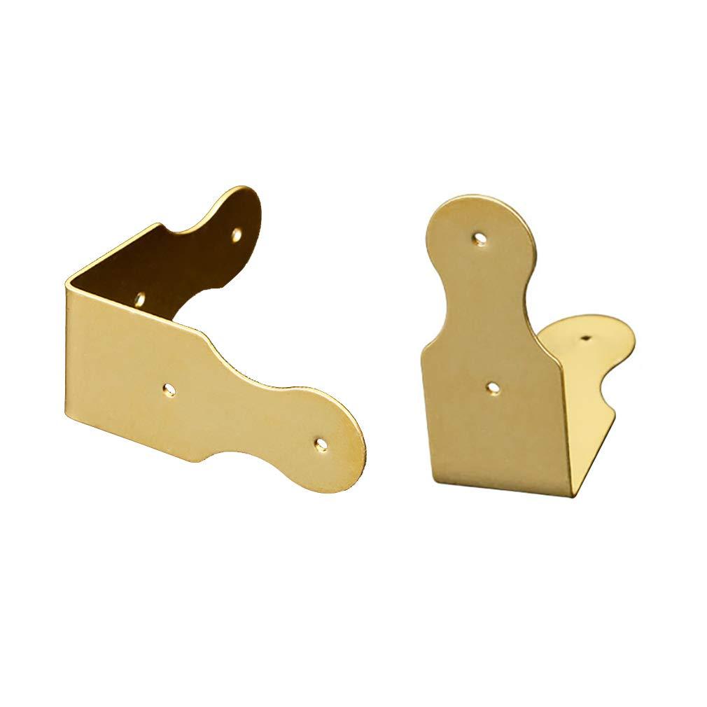 Tiazza Lot de 8 supports de protection dangle en laiton pur pour coins de bureau angle droit protection en bois accessoires pour cadre photo