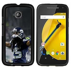 EJOOY---Cubierta de la caja de protección para la piel dura ** Motorola Moto E2 E2nd Gen ** --fútbol americano