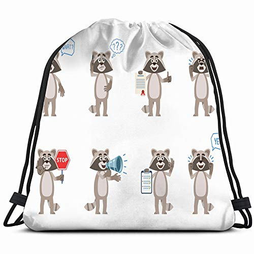 (Set Cartoon Raccoon Characters Posing Different Animals Wildlife Drawstring Backpack Bag For Kids Boys Girls Teens Birthday, Gift String Bag Gym Cinch Sack For School And Party )