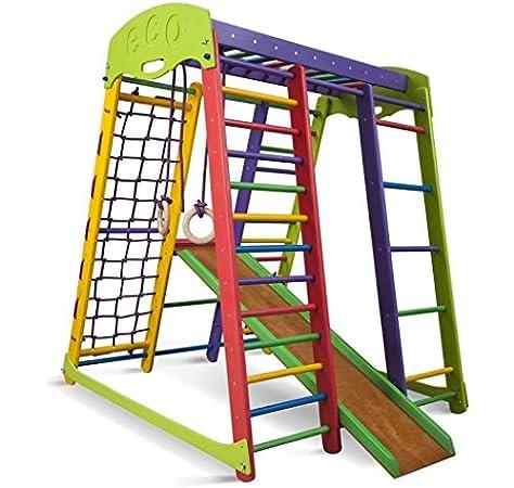 SportBaby Centro de Actividades con tobogán ˝Akvarelka˝, Red de Escalada, Anillos, Escalera Sueco, Campo de Juego Infantil, Juguetes: Amazon.es: Deportes y aire libre