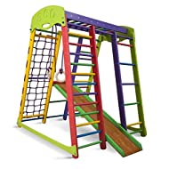 Wooden Playgrounds Akvarelka Home Gymnastic, Wood Indoor Jungle Gym Sets, Climbing Kids, Indoor Children Playground, Baby Play Area Complete with Climbing Ladder Slide Rings & Swing, Sport