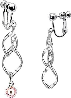 Birthstone Clip on Earrings for Girls Crystal July Oval Drop Asymmetrical Earring