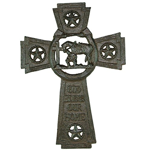(Cast Iron God Bless Our Home Wall Cross with Praying Cowboy)