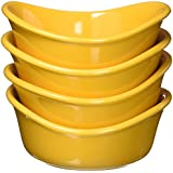 Rachael Ray Serveware Lil Saucy Squares Stoneware Dipping Cups Set, Yellow