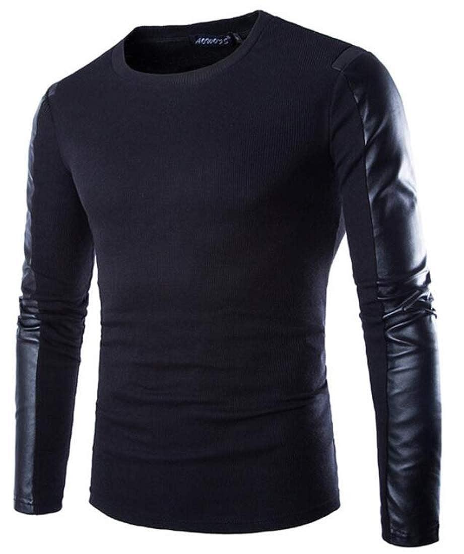 Men Warm Splicing PU Leather Sweatshirt Coat Winter Jacket ouxiuli Mens Shirt