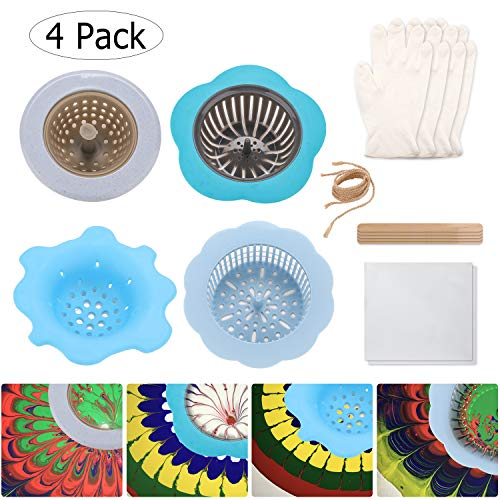 Acrylic Pouring Strainer Acrylic Fluid Painting Pour Set Strainer Artist Supplies Kits Pouring Paint Strainer Flower Drain Basket Creating Unique Patterns and Designs (4 Pack)