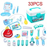 KEDA Durable Kids Doctor Kit Pretend Play Toy Set 33 Pieces Dentist Medical Kit with Electronic Stethoscope for Boys and Girls